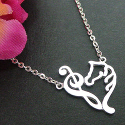 Silver Treble Bass Clef Heart Necklace Choker