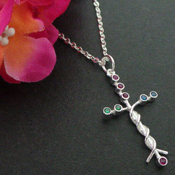 Silver Laminin Cross Necklace