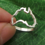 Silver Outline Australia Map Ring