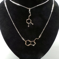 Serotonin and Dapomine Molecule Necklace