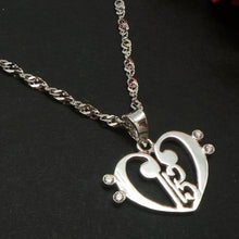 Load image into Gallery viewer, Alto Clef within Double Bass Clef Love Heart Necklace