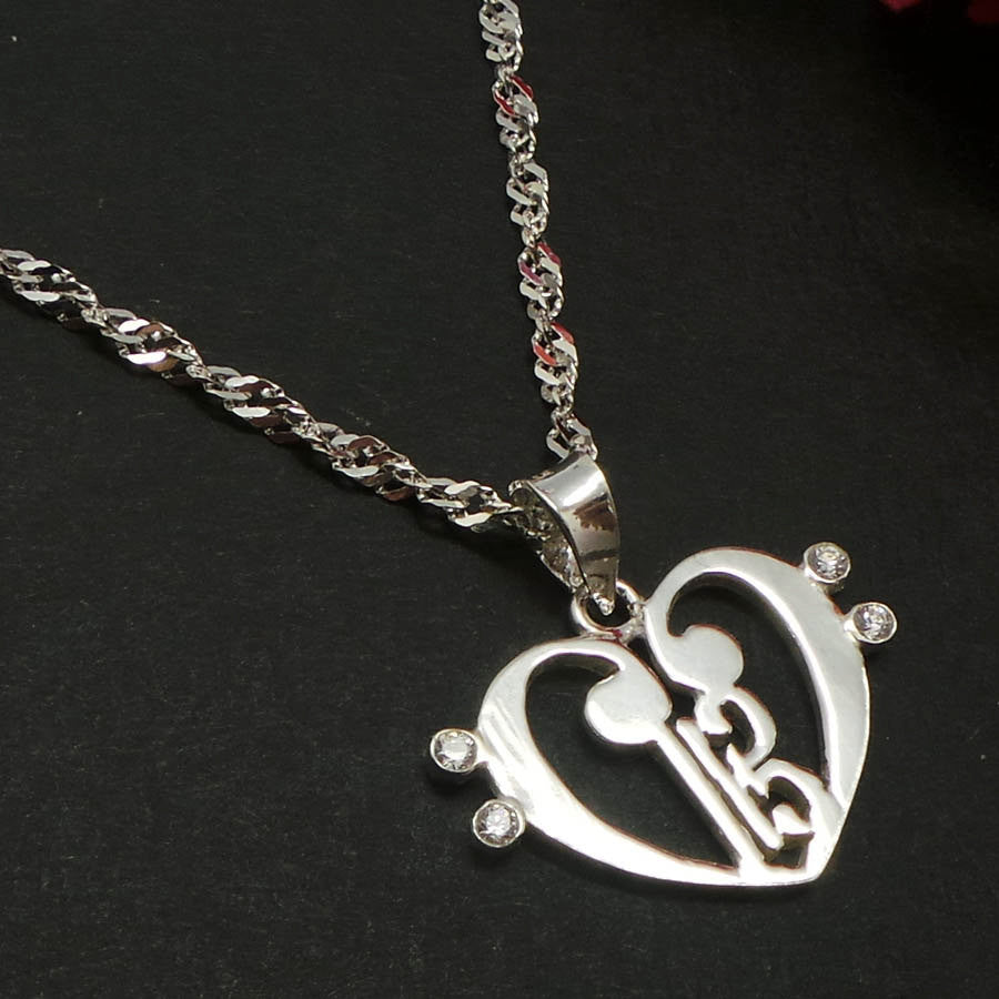 Alto Clef within Double Bass Clef Love Heart Necklace