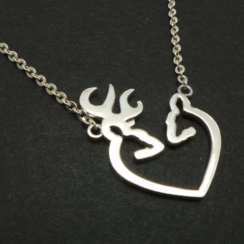 Silver Deer Antler Heart Necklace