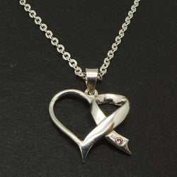 Ribbon Bow Heart Awareness Necklace