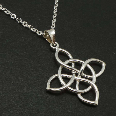 Celtic Knot Lotus Silver Necklace