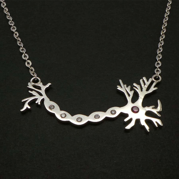 Silver Science Neuron Anatomy Necklace