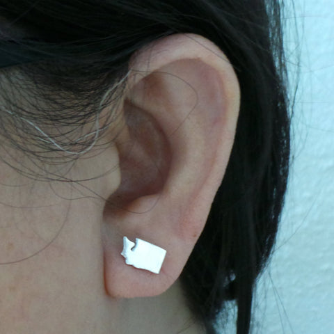 Silver Washington State Pride Stud Earring