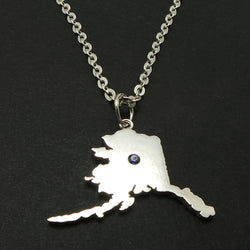 Blue Sapphire Alaska Home State Necklace