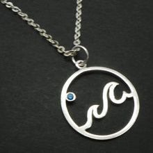 Load image into Gallery viewer, Sterling Silver Ocean Blue Wave Necklace