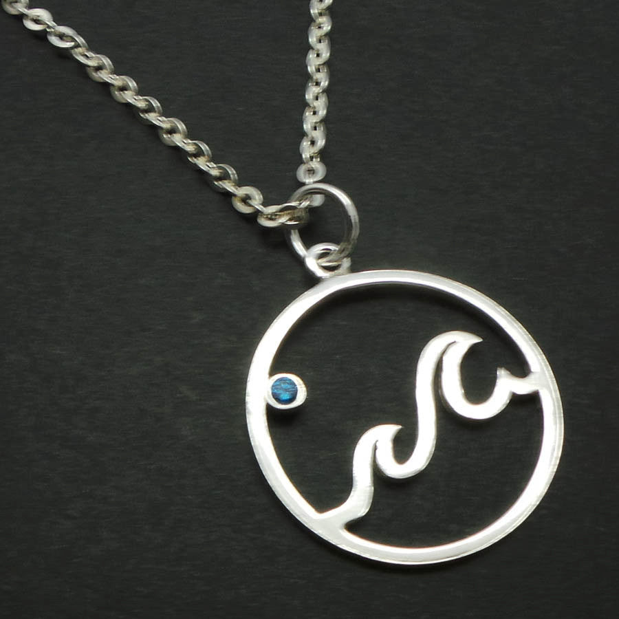 Sterling Silver Ocean Blue Wave Necklace