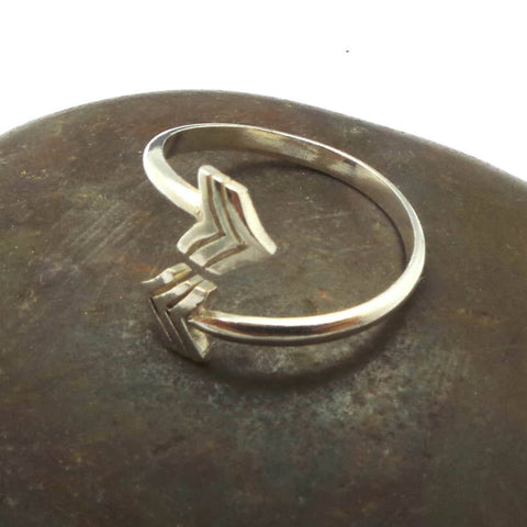 Silver V Chevron Arrow Ring