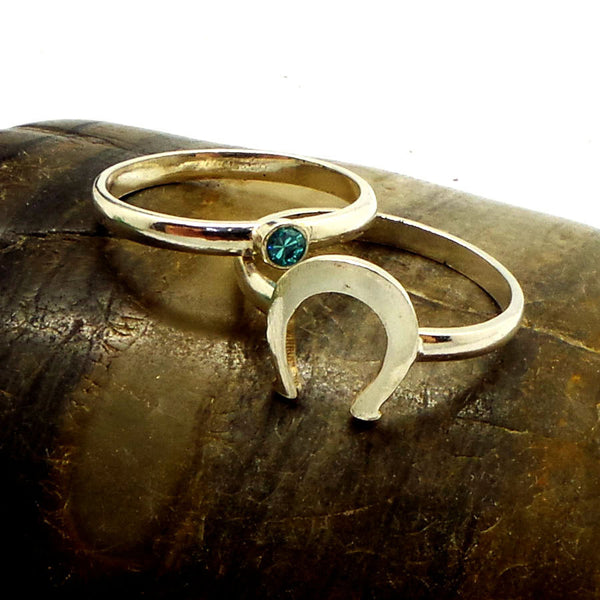 Horse Shoe Engagement Couple Ring