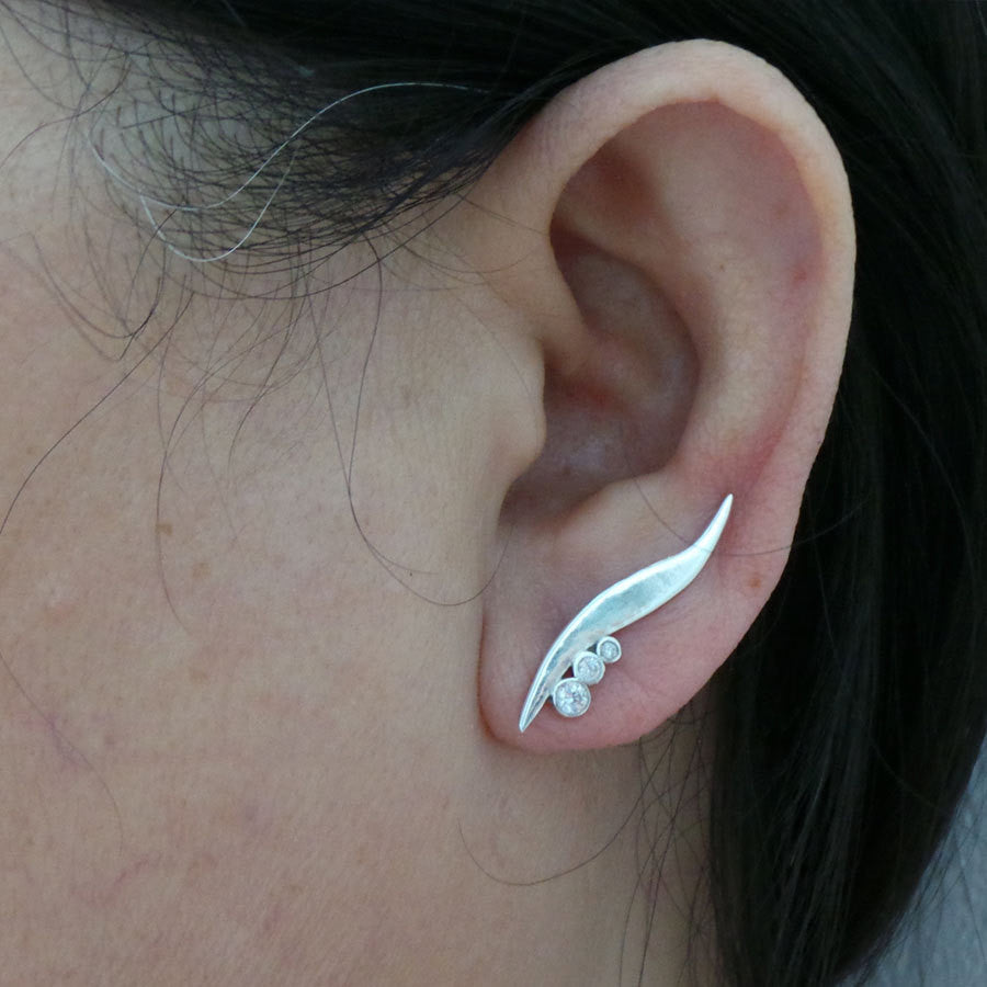 Simple Elegant Silver Ear Climbers