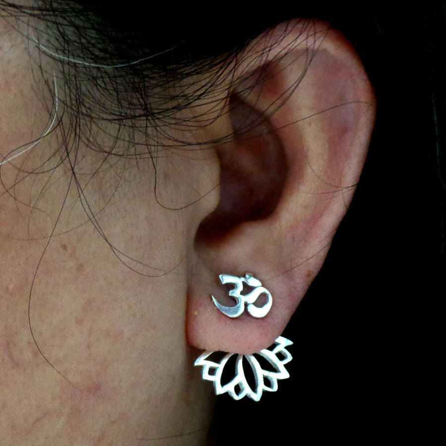 Silver Om Lotus Ear Jacket Stud Earring