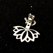 Load image into Gallery viewer, Silver Om Lotus Ear Jacket Stud Earring