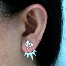 Load image into Gallery viewer, Silver Music Note Ear Jacket Stud Earring