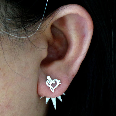 Silver Music Note Ear Jacket Stud Earring