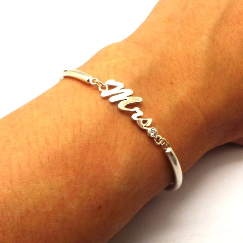 Just Married Sign Mrs Bracelet Bangle