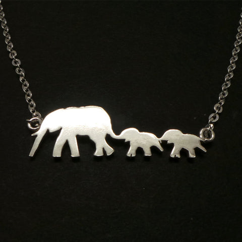 Silver Mother Daughter Elephant Necklace