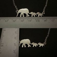 Load image into Gallery viewer, Silver Mother Daughter Elephant Necklace