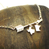 Silver Arrow Texas to Minnesota Necklace