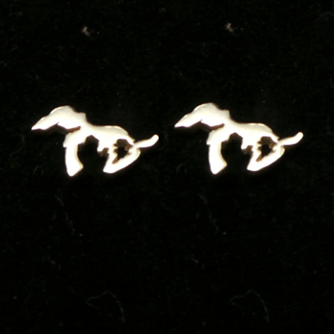 Silver Michigan Great Lakes Stud Earring