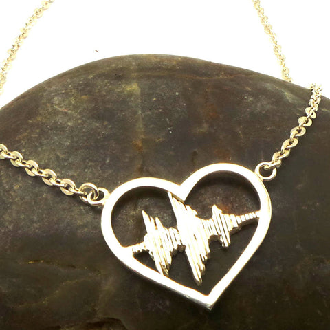 Silver I Love You Sound Wave Necklace