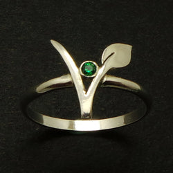 Silver Vegan Vegetarian Symbol Ring