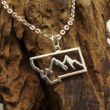 Silver Montana State Mountain Necklace