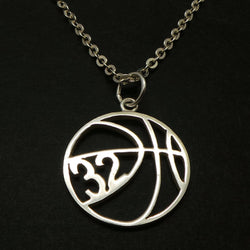 Personalized Basketball Necklace with Number