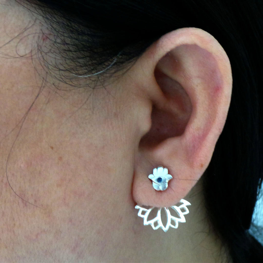 Silver Hamsa Lotus Ear Jacket Earring