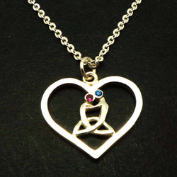 Silver Celtic Mother and Child Heart Necklace