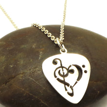 Load image into Gallery viewer, Guitar Pick Music Note Necklace