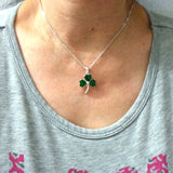 Silver Irish Green Silver Shamrock Necklace