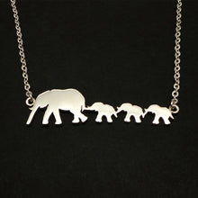 Load image into Gallery viewer, Silver Mother and 3 Daughters Elephant Necklace