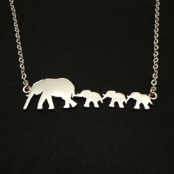 Silver Mother and 3 Daughters Elephant Necklace