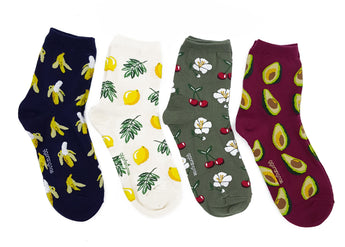 Fancy Socks- Cotton Blend Fruits Galore Women's Casual Socks, Set of 4 Colors
