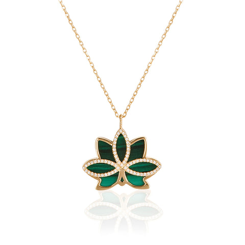 "Nelumbo ""LONG"" Malachite Necklace"