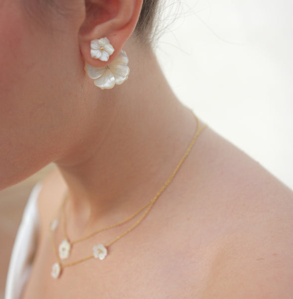 White Double Flower Earrings