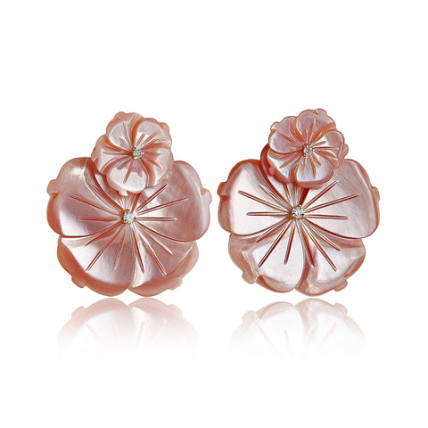 Pink Double Flower Earrings