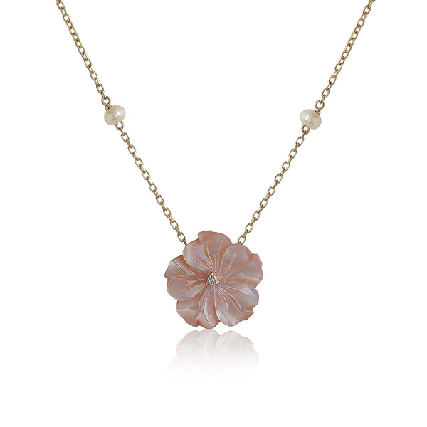 Pink Shell flower with Pearls Necklace
