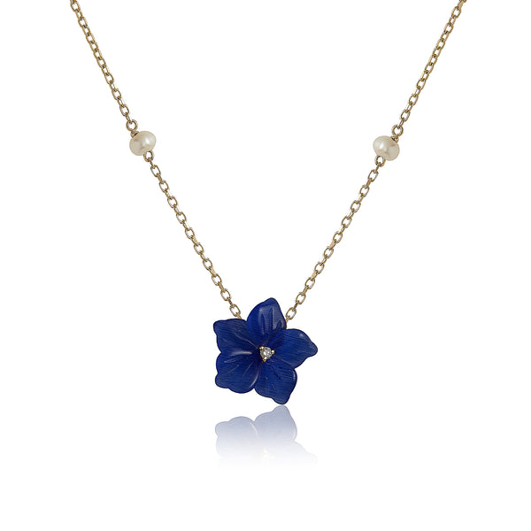 Blue Cat eye Flower with Pearls Necklace