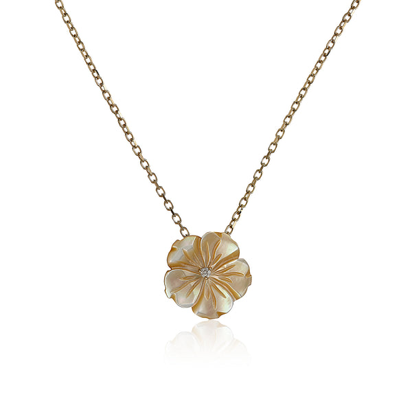 Yellow Shell Flower Necklace
