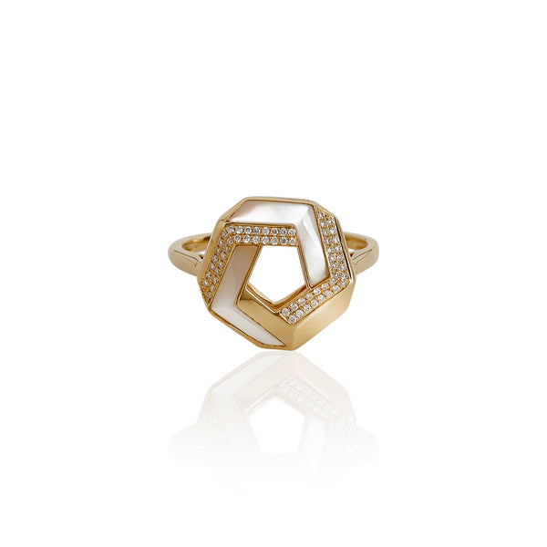 Trine White Shell Ring