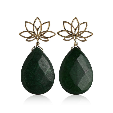 Nelumbo Green Drop Earrings