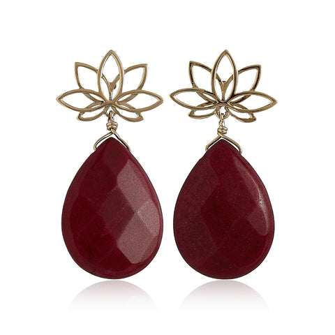 Nelumbo Red Drop Earring
