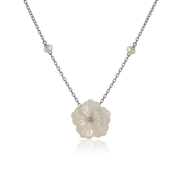 White Flower with Pearls Necklace