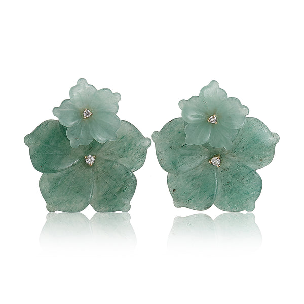 Aventurine Double Flower Earrings