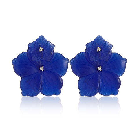 Blue Cat Eye Double Flower Earrings