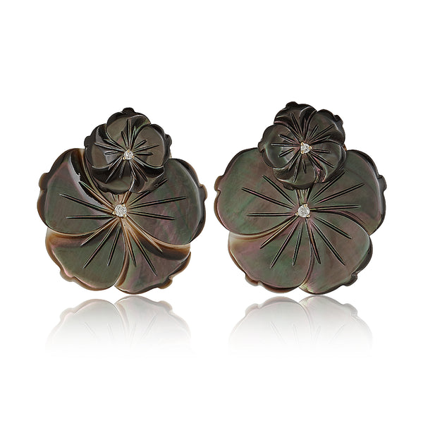 Gray Double Flower Earrings